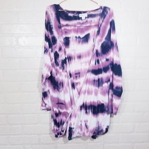Ava & Viv open front tie-dyed 2X top